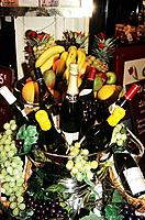 Display of fruit, wine and champagne outside a restaurant, Brussels, Belgium Date: 02 04 2008 Ref: ZB362_111810_0018 COMPULSORY CREDIT: World Pictures...