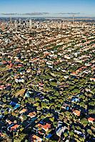 Extensive aerial view over Johannesburg city centre showing all the highrise buildings and treelined suburbs surrounding it Gauteng Province, South Af...