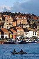 Whitby, harbour, waterfront, quays, boats, North Yorkshire, UK