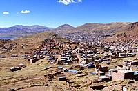 peru puno aerial view of teh city buildings and houses facades