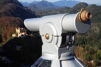 Binoculars directed on castle Hohenschwangau in the morning light, Schwangau, Bavaria, Germany