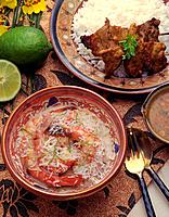 Prawn with Coconut Sauce, High Angle View