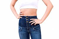 Woman wearing jeans, front view (thumbnail)