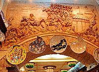 turkey istambul sculptured ceiling with pictures and paintings