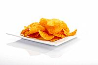 Potato chips on platter