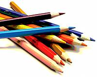 many colorful school pencils material