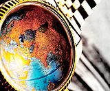 a watch display earth globe