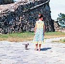 one little girl walking with a kitten
