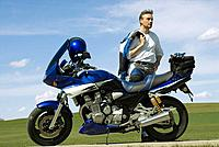 Germany, Bavaria, Biker with motorbike