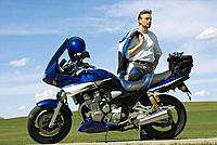 Germany, Bavaria, Biker with motorbike