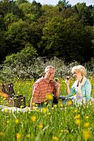 Germany, Baden Württemberg, Tübingen, Senior couple having picnic, smiling
