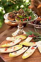 Chicory boats and stuffed mushrooms Christmas