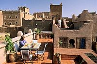 Morocco, Ouarzazate, Taourirt Kasbah, Dar Kamar Hotel, breakfast on the terrace
