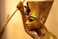 The King as Harpooner, A Golden Statue of king Tutankhamon, New Kingdom, Egyptian museum, Cairo, Egypt