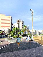 a sunny day at rio de janeiro with people walking