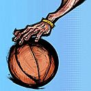 Person's hand on basketball