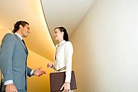 Young Businessman and Woman Talking at Hallway