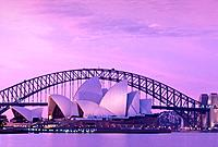 Australia, Sydney, Opera House And harbor Bridge, Architecture, Auditorium, Auditoriums, Bridge, Bridges, Building, Bu