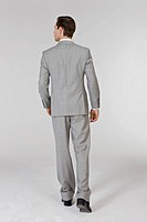 Businessman standing, rear view