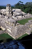 Palenque ancient ruins,elevated view, Chiapas,Mexico