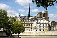 Seine river, Notre Dame cathedral towers in background. Paris. France