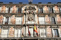 Painted facade of Casa de la Panaderia, Plaza Major,Madrid,Spain