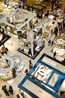 Looking down on the perfume counters of Galeries Lafayette, Paris, France