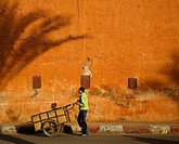 Boy pushing cart through Mellah area, Marrakesh, Morocco