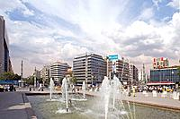 Fountains on Ataturk Boulevard, Ancara, Turkey, Asia