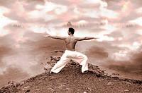 a man practising yoga