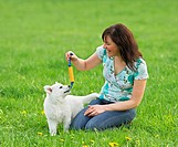 woman playing with white swiss sheperd puppy / restrictions: Tierratgeber_Bücher / animal guidebooks
