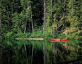 Canoeing on Three Mile Lake, Whistler, BC