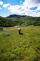 Woman outdoors riding horse in scenic location