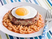 Corned Beef Hash Cake with Alphabet Pasta and a Fried Egg