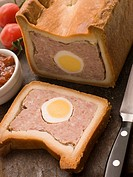 Pork and Egg Gala Pie with Tomato Chutney