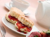 Scones Jam Clotted Cream and Strawberries with Afternoon Tea