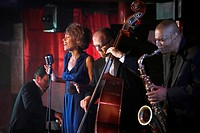 Jazz band performing in nightclub