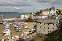 Tenby, port, harbour, boats, Castle hill, Pembrokeshire, Wales, UK