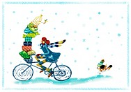 A young woman riding a bicycle piled high with gifts in the snow with her dog running behind