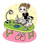 A girl doing her homework