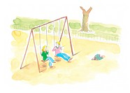 Young couple on a swing set
