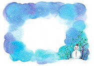 A painted frame of snowy skies and a snowman