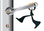 A businessman using a spanner to turn a bolt with money symbols on it