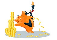 A businessman riding a piggy bank with coins spilling out