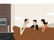 A family sitting together on a sofa (thumbnail)