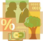 A montage of a man and woman talking, a tree, percentage sign, credit cards, and computer code