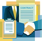 A montage of a contract, handshake, suit, and documents
