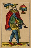 Vintage playing card showing a prince with feathered hat and an urn