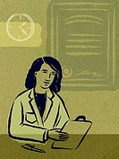 Illustration of a physician looking at notes, a wall clock and a medical certificate