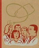 Illustration of a group of doctors and a stethoscope